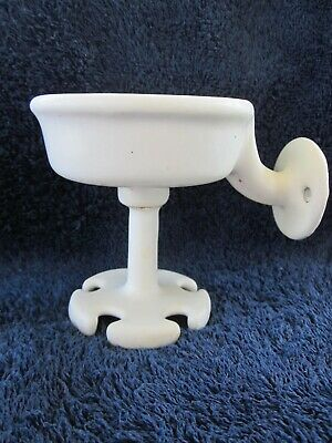 Antique Cast Iron Porcelain Coated Cup Toothbrush Holder VGC Bath Decor Original
