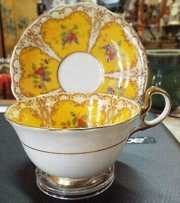vintage Aynsley Yellow Cup & Saucer