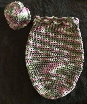 Chrocheted Newborn Cocoon & Hat Set! Blanket-hat-sleeping Bag-prop! Girl