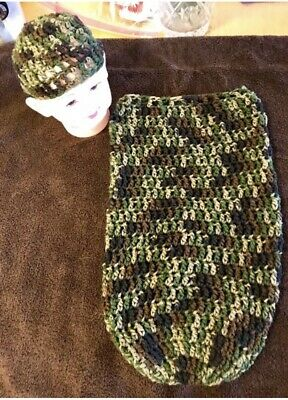 Chrocheted Newborn Cocoon & Hat Set! Blanket-hat-sleeping Bag-prop! Boy