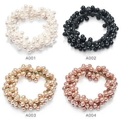 1PC Elastic Rope Women Pearl Beads Hair Ties Ponytail Holder Head Band Hairbands