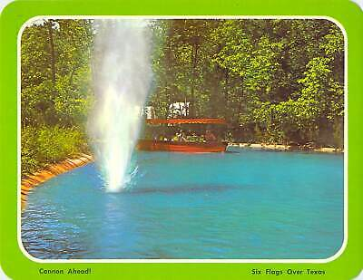 postcard BIG 5.25x6.75 SIX FLAGS Over TX Spanish Cannon BOAD RIDE Amusement Park