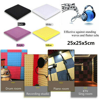 Acoustic Foam Panel Sound Stop Absorption Sponge Studio KTV Soundproof 25x25x5cm