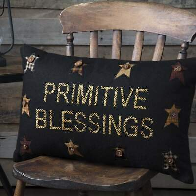 New Rustic Country Farmhouse Heritage Farms Primitive Blessings Accent Pillow