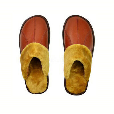 Winter Men's Women Leather Warm Indoor Slippers Home House Mules Anti-slip