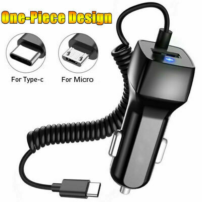 Fast Car Charger Adapter with Micro USB Type-C Cable Cord For All Android Phone