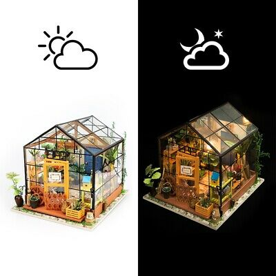 DIY Miniature Garden House with Furniture LED Dollhouse Flower Wooden Toy Gift