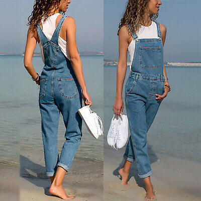 AU Women's Jeans Denim Jumpsuit Playsuit Dungaree Overalls Trousers Casual Pants