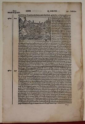 Marseille France 1483 Foresti Da Bergamo Unusual Antique Woodcut City Map