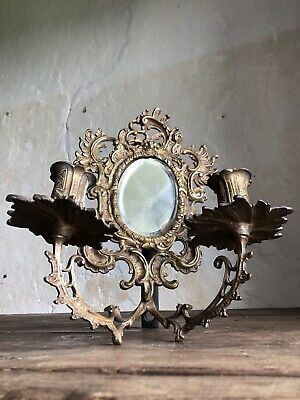 Antique French Bronze Rococo Mirrored Candle Sconce. c1850