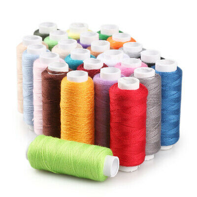 24 Mixed Color Polyester Cotton Sewing Thread Reel Machine Hand Finest Quality