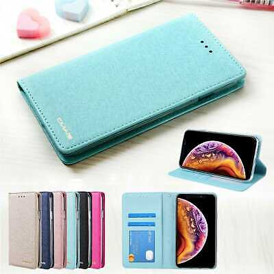 Luxury Slim Wallet Silk Leather Stand Flip Case Cover For iPhone X 8 7 6 plus