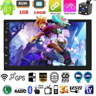 2Din 7in Android 8.1 GPS Navi WiFi Quad Core Car Stereo MP5 Player FM Radio +Cam