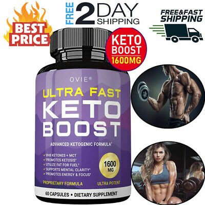 Ultra Fast Pure Keto Boost 1600mg Best Ketosis Ketogenic Supplement 60 Capsules.
