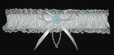 Wedding Garter White With Pearl Strand And A Blue Rose