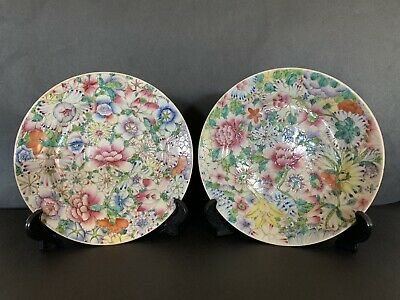Two VINTAGE  chinese FAMILY ROSE Plates