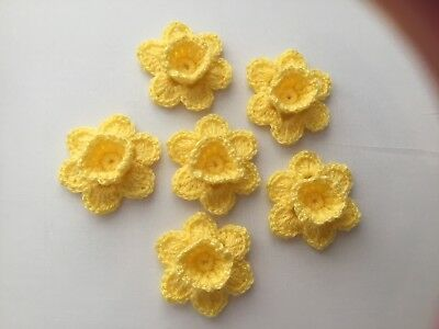 6xNew Crochet Spring Flowers Applique Embellishment -Daffodils Yellow