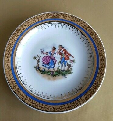 Antique French Sevres Porcelain Plate Courting Couple Gilt