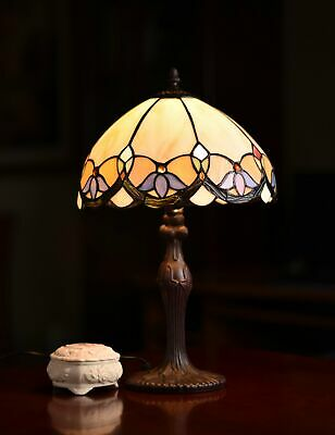 """12"""" Wisteria Style Leadlight Stained Glass Tiffany Bedside Lamp"""