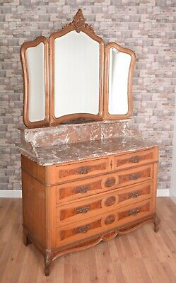 Carved Antique French Walnut & Oak Marble Top Dressing Table Chest Of Drawers