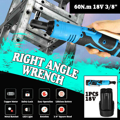 18V Cordless 3/8'' Electric 18V 60N.m Ratchet Right Angle Wrench 8000mAh Battery