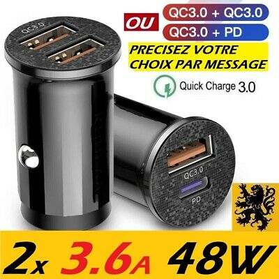 Chargeur de voiture Rapide USB Allume Cigare 12/24V 36W⚡️2x5V 6A QC3.0 FIT LED ✅