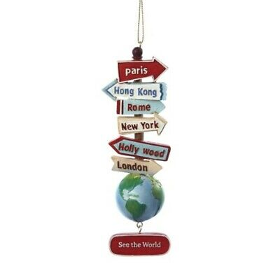 Stacked World Signs on Globe Christmas Tree Ornament See the World C7210 New