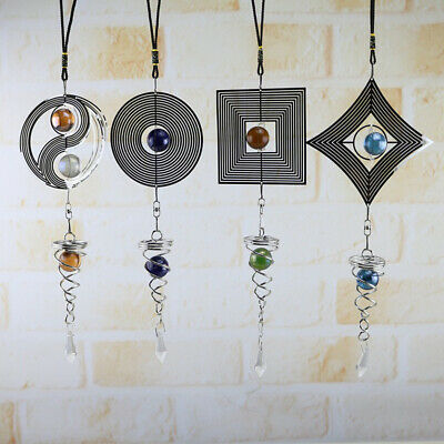 Metal Hanging Garden Wind Spinner Round Crystal Garden Or Home Ornament Decal US