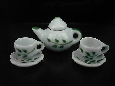 Leaf Green Hand Painted  Coffee Cup Scalloped Plate Teapot Dollhouse Miniatures
