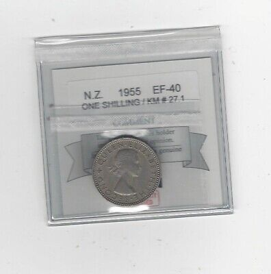 1955 , New Zealand, Shilling, Coin Mart Graded **EF-40** KM# 27.1