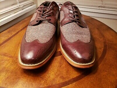 Men/'s Dress Casual Ankle Boots Wing Tip Navy Blue Leather Tweed GIOVANNI GRIFFIN