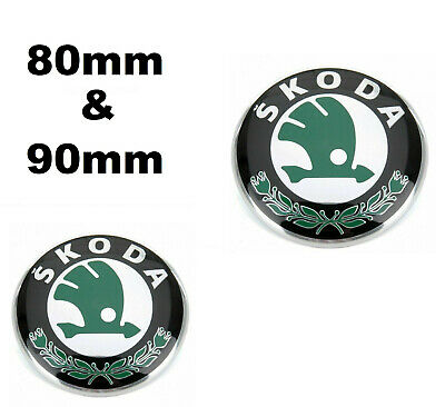 Skoda Front Rear Grille Bonnet Boot Badge Emblem Set Green 80mm 90mm
