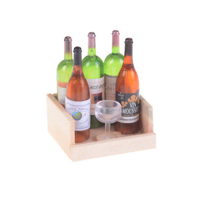 1Set Wine Juice Bottles With Cup Wood Rack 1:12 Dollhouse Miniature DecoratCHP