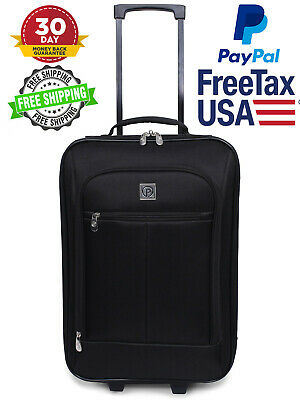 Carry On Luggage Suitcase Bags Telescopic Handle Travel Rolling Baggage Black