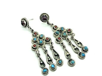"""Vintage Mexican Sterling Silver Turquoise Coral Amethyst 2.75"""" Drop Earrings (TS"""