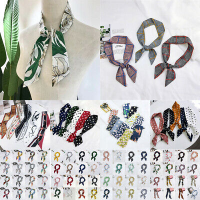 Women Silk Satin Twilly Printed Scarf Bag Ribbon Headband Tied Handle Wrist Band
