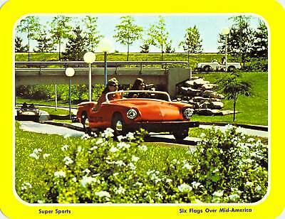 postcard BIG 5.25x6.75 Super Sports AUTO RIDE Six Flags Over Mid-America ~ MO