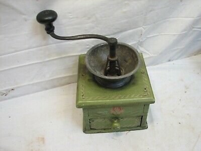 Early Signed Pewter Top Coffee Lap Grinder Burr Mill Tole Painted Dovetailed Box