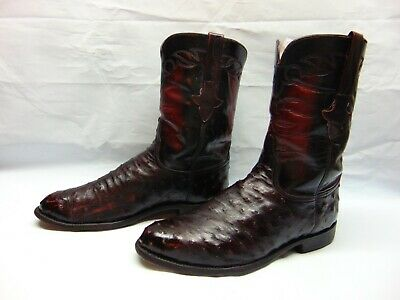 dde201be80b LUCCHESE 2000 BROWN-TAN Full Quill OSTRICH Roper Cowboy BOOT 10 EE ...