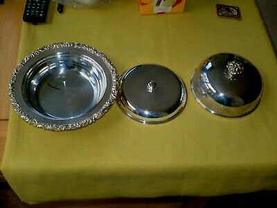 Lovely Quality & Vintage Lidded Silver Plated Muffin Dish...3 Pieces
