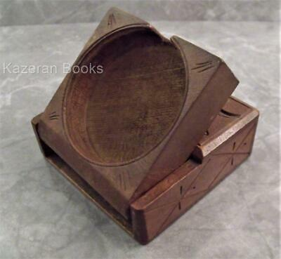 Antique Black Forest Carved Wood Fob Pocket Watch Travel Case Stand Treen Davos