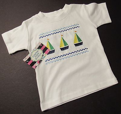 New Infant Boys Boats Monag Embroidered T-Shirt   Size 12 Mo  $22