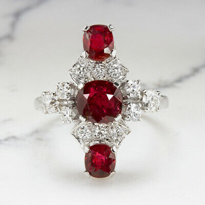 4.67tw NO HEAT CERT RUBY DIAMOND PLATINUM COCKTAIL RING VINTAGE ART DECO ANTIQUE