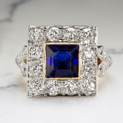 2.4ct GIA CERT NO HEAT SAPPHIRE 2ct F-H VS DIAMOND COCKTAIL RING OLD CUT VINTAGE