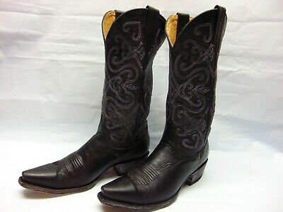 ca63d667212 CAVENDERS WOMEN'S 8.5 B Black Leather Snip Toe Cowgirl Riding Work Western  Boots