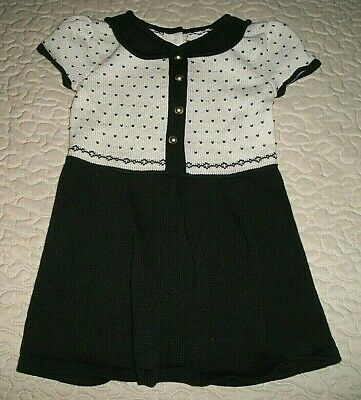 Janie & Jack Black/Creme S/S Nordic-weave Sweater Dress - Size 12-18 Months