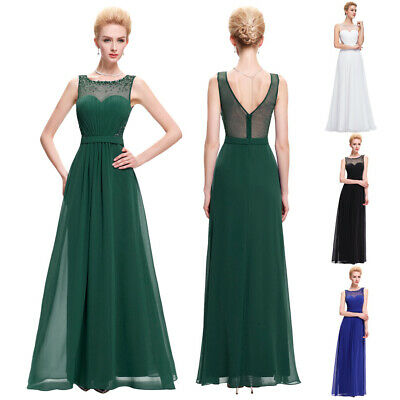 Women New Evening Dress Prom Elegant Size Chiffon Party Lace 2-16 Long 8 Gown