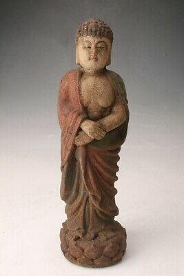 Buddhist China Wood Statue Monks Spiritual Bodhisattva Hand-Carved Old Collec