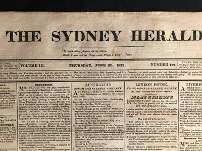 1833 Sydney Morning Herald - 4 pages - extremely rare! ORIGINAL free shipping