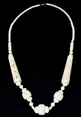 """Vintage Hand Carved Bovine Bone Ivory Colored Chunky Necklace  31"""" Long"""